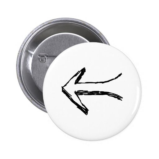 Arrow Pointing to the Left. Black. 2 Inch Round Button