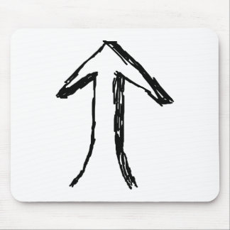 Arrow Pointing Up. Black and White. Mouse Pad