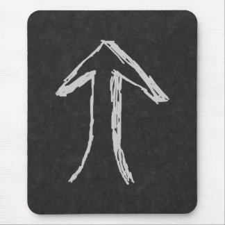 Arrow Pointing Up. Gray on Dark Background. Mouse Pad