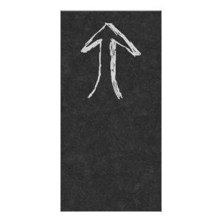 Arrow Pointing Up. Gray on Dark Background. Customized Photo Card