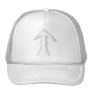 Arrow Pointing Up. Gray on White. Hat