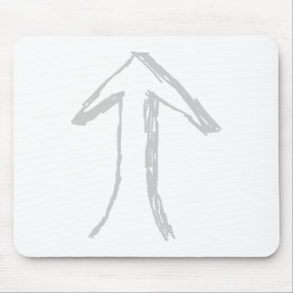 Arrow Pointing Up. Gray on White. Mouse Pad