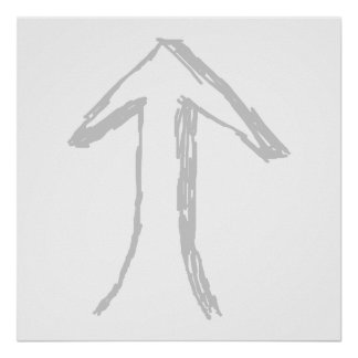 Arrow Pointing Up. Gray on White. Print