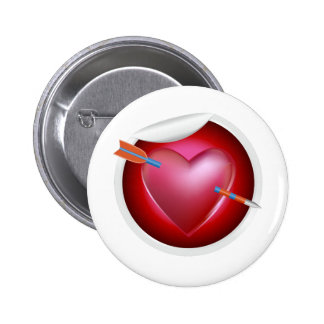 Arrow Through Heart 2 Inch Round Button