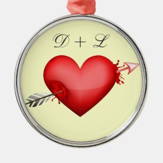 Arrow through heart ornament