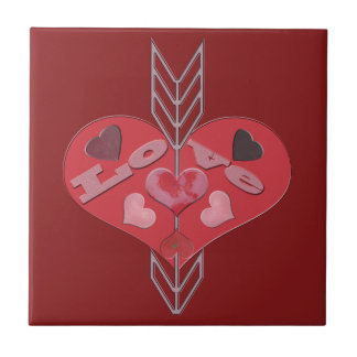Arrow Through Love Hearts Ceramic Tile