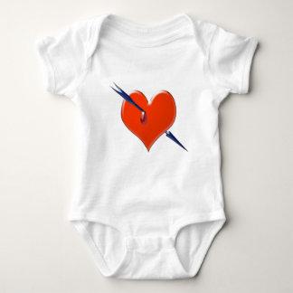 Arrow through the heart baby bodysuit