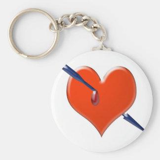 Arrow through the heart basic round button keychain