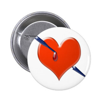 Arrow through the heart 2 inch round button