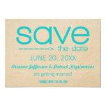 "Arrow Typography Save the Date, Aqua 5"" X 7"" Invitation Card"