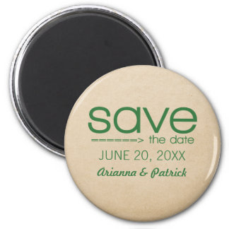 Arrow Typography Save the Date Magnet, Green 2 Inch Round Magnet