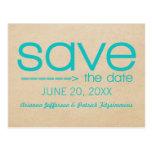 Arrow Typography Save the Date Postcard, Aqua