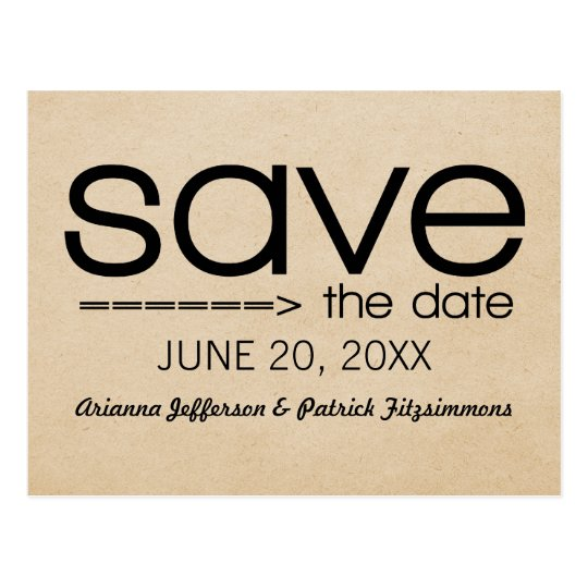 Arrow Typography Save the Date Postcard, Black Postcard