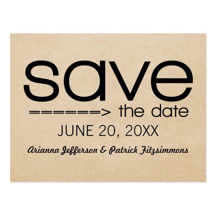 Arrow Typography Save the Date Postcard, Black Postcard