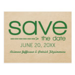Arrow Typography Save the Date Postcard, Green