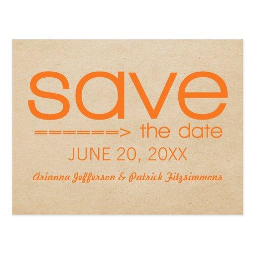Arrow Typography Save the Date Postcard, Orange