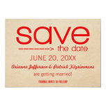 """Arrow Typography Save the Date, Red 5"""" X 7"""" Invitation Card"""