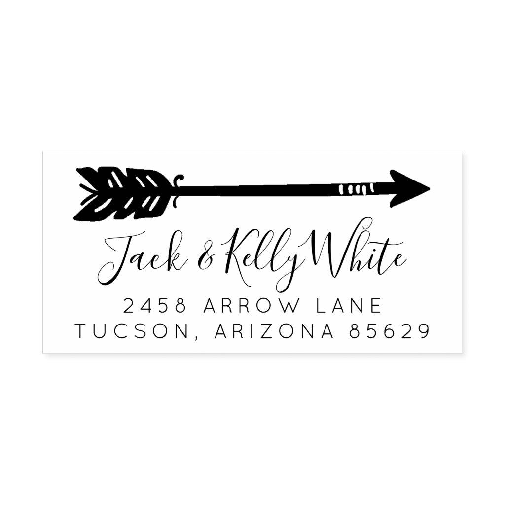 Arrow Wedding Newlywed Return Address Rubber Stamp