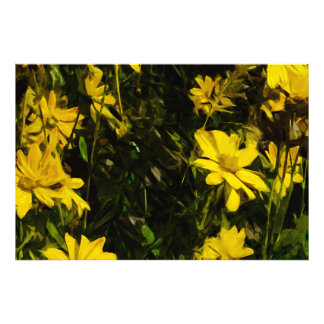 Arrowleaf Balsamroot Yellow Wildflower Abstract Photo Print