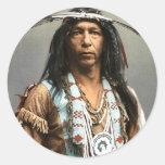 Arrowmaker - Ojibwa Brave1903 Pegatinas Redondas