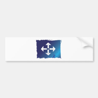 arrows all directions grunge blue bumper sticker