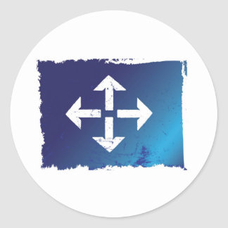 arrows all directions grunge blue classic round sticker
