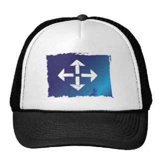 arrows all directions grunge blue trucker hat