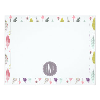 Arrows and Feathers Monogram Pattern 4.25x5.5 Paper Invitation Card