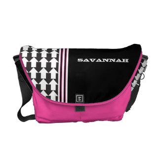 Arrows Black & White Pink Racing Stripe Messenger Messenger Bag