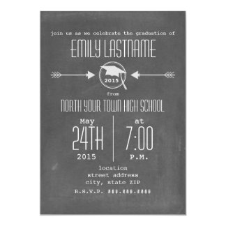 Arrows + Chalkboard Inspired 2015 Photo Graduation 5x7 Paper Invitation Card