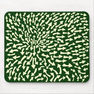 Arrows - Cream on Dark Green 003300 Mouse Pad