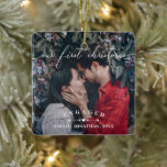 """Arrows & Heart First Christmas Engaged Photo Ceramic Ornament<br><div class=""""desc"""">Double-sided our first Christmas ornament to which you can add two photos of you and you significant other. Our first Christmas is written across in a delicate white script. Add your names and the year you got engaged beneath two arrows pointing at a heart. ENGAGED in curved text.</div>"""