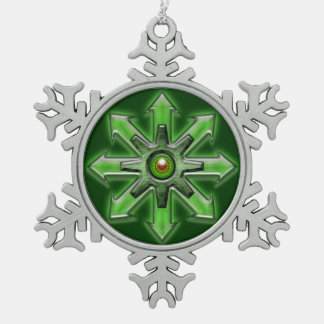 Arrows of Chaos – Green Snowflake Pewter Christmas Ornament