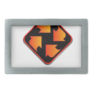 arrows pointing in different direction rectangular belt buckle