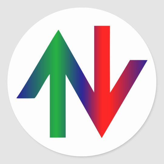 Arrows red green arrows talk green classic round sticker
