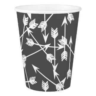 Arrows Scattered / Grey White / Andrea Lauren Paper Cup