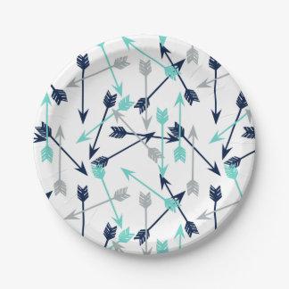 Arrows Scattered / Navy Mint Grey / Andrea Lauren Paper Plate
