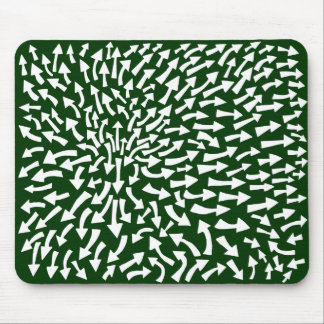 Arrows - White on Dark Green 003300 Mouse Pad