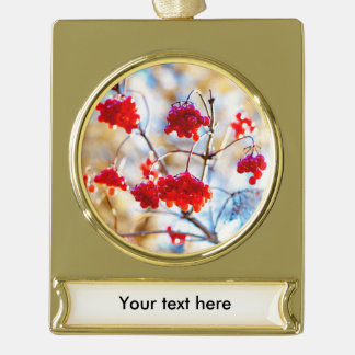 Arrowwood Berries Gold Plated Banner Ornament