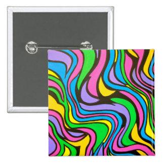Arroyo de neón - arte abstracto pintado a mano pin cuadrado