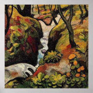Arroyo en agosto Macke del bosque Poster