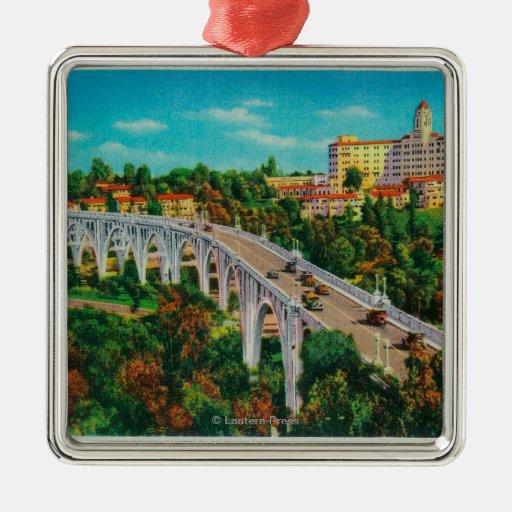 Arroyo Seco Bridge, Colorado Street Bridge Square Metal Christmas Ornament
