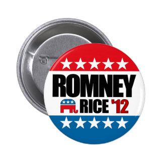 Arroz 2012 de Mitt Romney Condi Pin Redondo De 2 Pulgadas