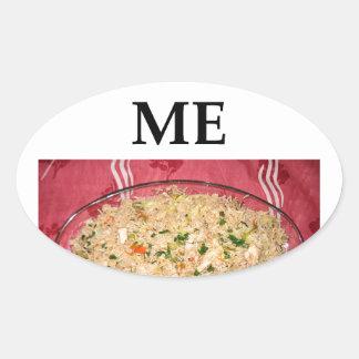 arroz frito pegatina ovalada