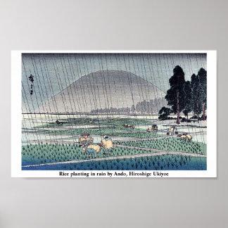 Arroz que planta en lluvia por Ando, Hiroshige Uki Póster