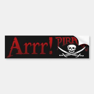 ARRR! PIRATE BUMPER STICKER CAR BUMPER STICKER