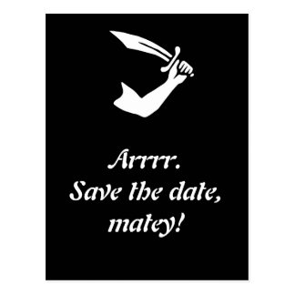 Arrr! Pirate Flag Black Save The Date Cards