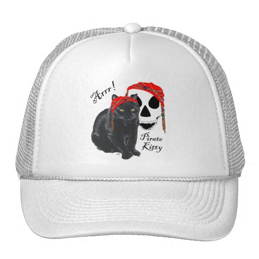Arrrr!  Black Cat Pirate Kitty Mesh Hat