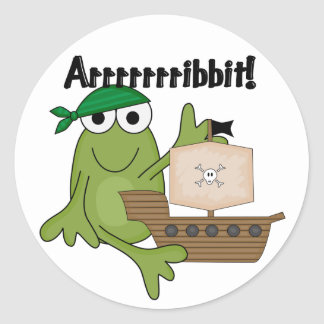 Arrrrrrribbit Frog Pirate Tshirts and Gifts Classic Round Sticker