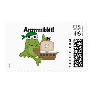 Arrrrrrribbit Frog Pirate Tshirts and Gifts Postage Stamp